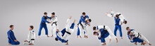 The Two Judokas Fighters Fight...