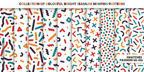 Collection of bright colorful seamless patterns. Memphis mosaic design - retro fashion style 80-90s
