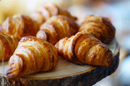 Valokuva  Freshly baked French croissants