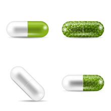 Set Of Pills In Capsule Shapes...