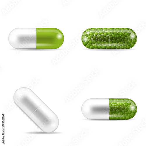 Set of pills in capsule shapes and forms Obraz na płótnie