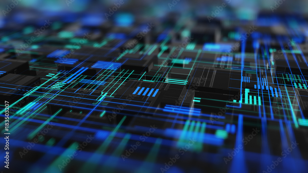 Fototapeta Abstract high tech digital technology background made of particles and metallic plates.