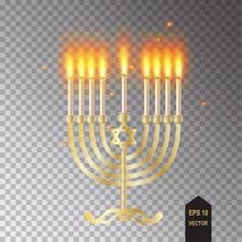 Hanukkah Traditional Symbol Menorah Vector Illustration, Realistic Transparent Lights Effect, Flame, Candles, Candlestick. Chanukah Jewish Holiday Icon.