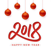 Happy New Year 2018 Greeting Card With Paper Cut Digits And Red Christmas Balls On White Background. Vector Carving Art Style Illustration For Invitation, Calendar Or Banner Template For Chinese Year