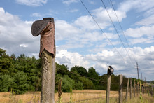Cowboy Boot On Fence Post