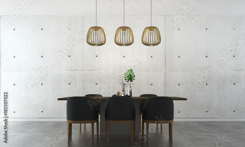 Fotografía  The modrn dining room interior design and concrete wall background texture