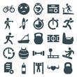 Set of 25 training filled icons