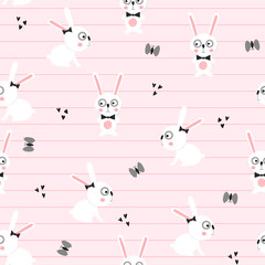 Seamless baby background with funny hares