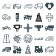 Set of 25 drive filled and outline icons
