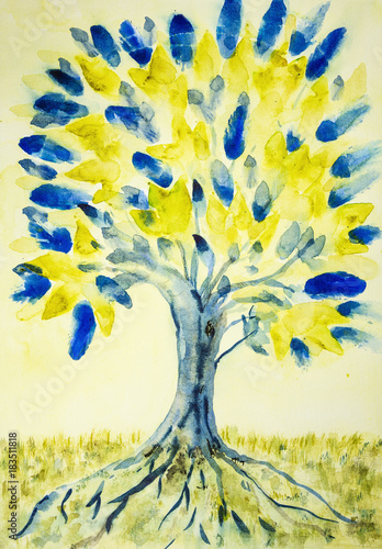 Fotografering  Folk art tree of life with yellow and blue leaves