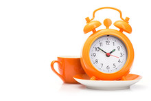 Orange Coffee Cup And Alarm Cl...
