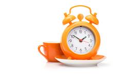 Orange Coffee Cup And Alarm Clock