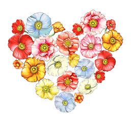 Illustration of floral heart with watercolor poppies isolated on white background.