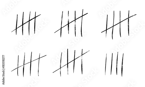 Fotografie, Obraz  Tally marks count or prison wall sticks lines counter
