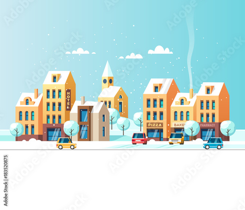 Keuken foto achterwand Turkoois Winter urban landscape. Vector illustration.