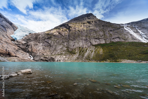 Tuinposter Gletsjers Briksdal glacier, lake, Norway