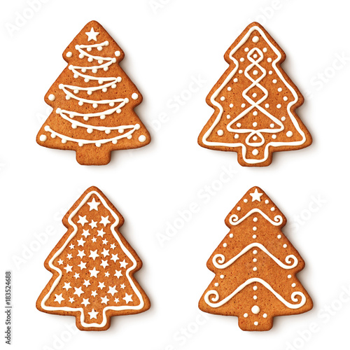 Set Of Gingerbread Christmas Tree Cookies With Ornaments Buy This