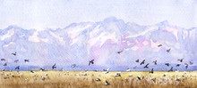 Mountains And Birds Landscape.