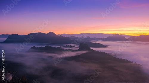 Foto auf AluDibond Aubergine lila foggy landscape in north of Thailand with twilight sky