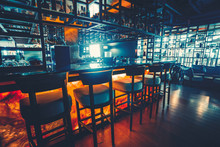 Bar Counter In The Dark Night ...