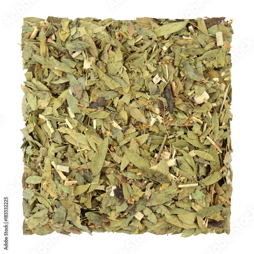 Stampa su Tela Constipation and laxative herb mixture used in alternative herbal medicine with senna leaf, fennel, elder and lime flowers on white background