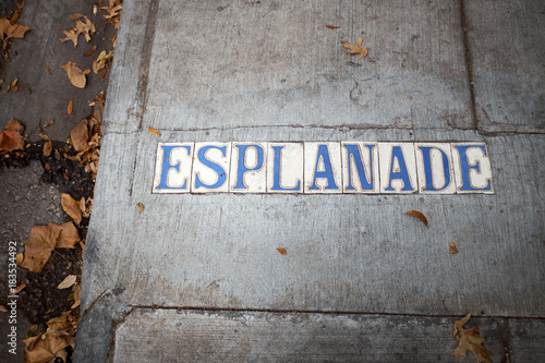Fotografering  Esplanade place name set into a concrete sidewalk