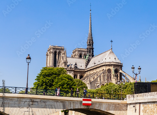 Notre Dame de Paris Catholic Christian Cathedral  and  the bridge  Archbishopric on a sunny spring day Wallpaper Mural
