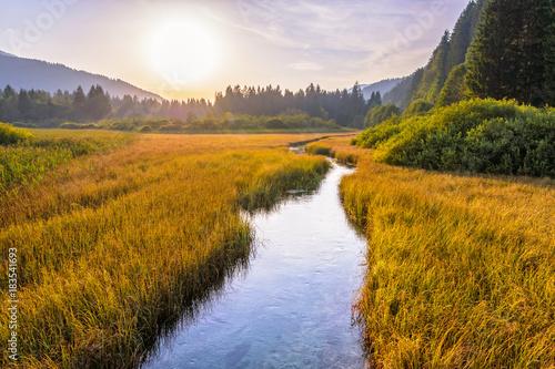 Beautiful sunset landscape in Zelenci Springs nature reserve near the town of Kranjska Gora, Slovenia Fototapeta