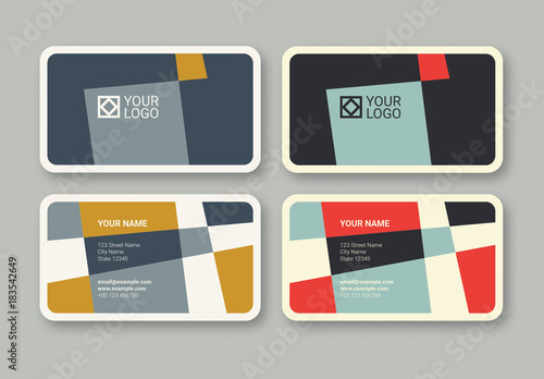 Geometric business card in 2 color palettes buy this stock template geometric business card in 2 color palettes reheart Gallery