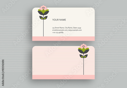 Pink stripes and die cut flower business card buy this stock pink stripes and die cut flower business card reheart Gallery