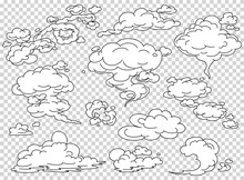 Comic Book Steam Clouds Set. Cartoon White Smoke Vector Illustration. Fog Flat Isolated Clipart For Design, Effects And Advertising Posters