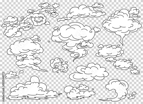 Fotobehang Rook Comic book steam clouds set. Cartoon white smoke vector Illustration. Fog flat isolated clipart for design, effects and advertising posters