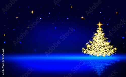 Golden Christmas tree and blue star sky. Fototapeta