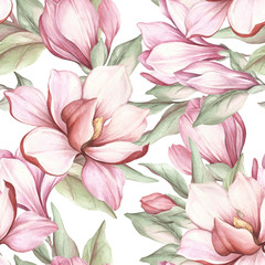 Fototapeta Popularne Seamless pattern with blooming magnolia. Watercolor illustration