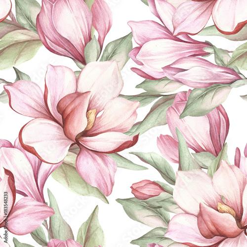 Bezszwowy wzór z kwitnącą magnolią. Akwarela ilustracja