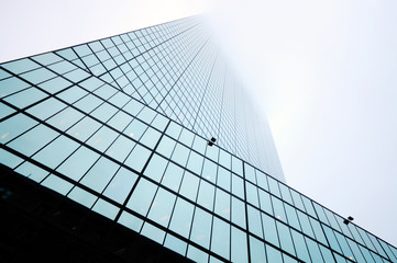 Detail of glass and steal office building in the fogg, architectural background