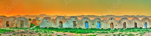 Poster Tunisia Sunset above Ksar Ouled Boubaker in Tunisia