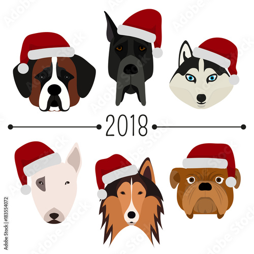 2018 Happy New Year Set Of 6 Dog S Head With Santa Claus Cap Flat Design Pets