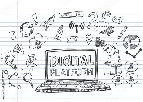 Fotografiet Hand draw business doodles digital platform,Drawn on  lined notebook paper