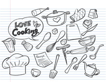 Love Cooking Concept On Lined ...