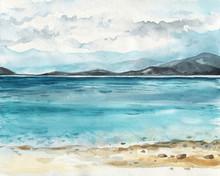 Ocean Watercolor Hand Painting Illustration.