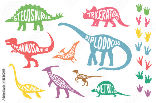 Set of colorful isolated dinosaurs with lettering and footprints Wallpaper Mural