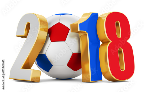 Fotografía  Soccer ball and flag numbers of russia 2018 on a white background