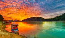 Touristic Boat At Sunset. Beau...