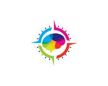 Brain Compass Icon Logo Design Element