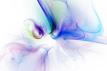 Abstract Violet, Yellow And Blue Smoky Shapes On White Background. Fantasy Fractal Design. Digital Art. 3D Rendering.