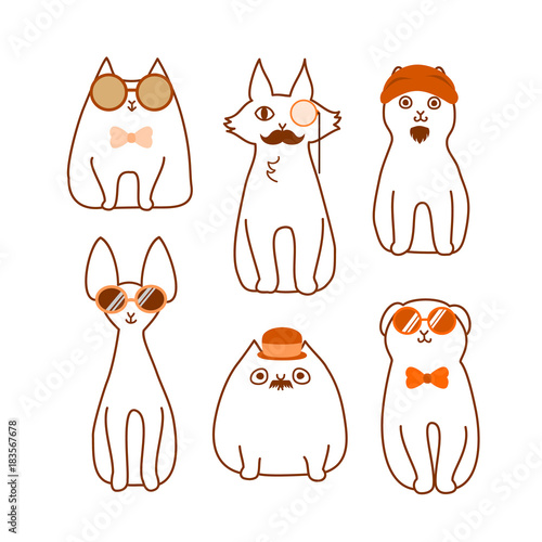 Set Of Cartoon Cat Hipster Sitting Buy This Stock Vector And Explore Similar Vectors At Adobe Stock Adobe Stock