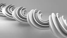 Grey Twisted Spiral Shape 3D Rendering