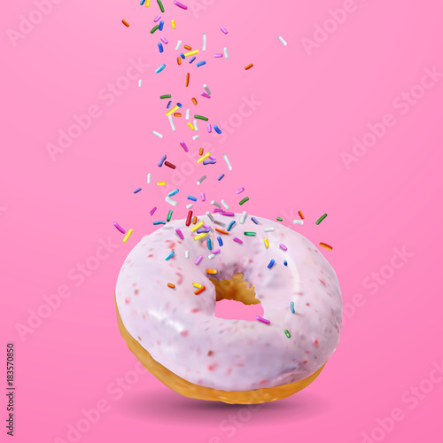 Tasty strawberry donut Wallpaper Mural