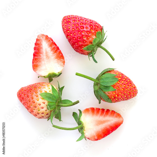 fresh strawberries on white in top view